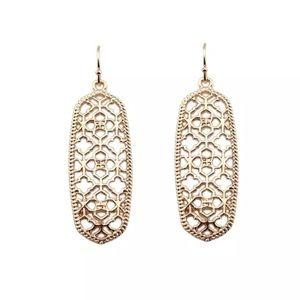 Rose Gold Filigree Scroll Geometric Drop Earrings